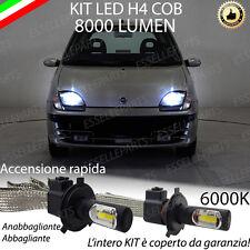 KIT FULL LED FIAT SEICENTO 600 LAMPADE LED H4 6000K BIANCO GHIACCIO 6400 LUMEN