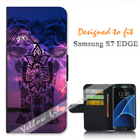 For Samsung Galaxy S7 EDGE Wallet Flip Phone Case Cover Elephant White Y00846