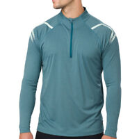Asics Mens Icon Long Sleeved 1/2 Zip Top Blue Sports Running Half Breathable