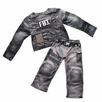 FBI-Kostüm 2-tlg Jungen Karneval Verkleidung Fasching Spezialeinheit Muskelshirt