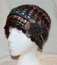 WOMAN'S HAND-CROCHETED FLAPPER HAT WITH FLOWER--RICH BROWN & TEAL--NEW