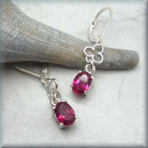 2Ct Oval Red Ruby Women's 925 Sterling Silver Leverback Earring 14 White Gold FN