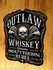 Outlaw whisky rebel old school sticker autocollant crus usa skull vintage