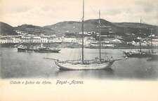 Faial Azores Portugal birds eye view city bay boats antique pc Z19617