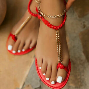 Womens Toe Rings Flat Roma Beach Shoes Slippers Summer Sandals Sexy Metal Chain