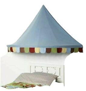 "Ikea Mysig Bed Canopy Blue Circus Castle Tent 59"" x 32"" Nursery Bedroom Playroom"