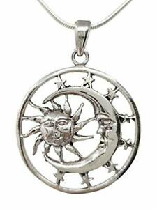 Sun and Moon Pendant on a Snake Chain, Made from 925 Sterling Silver
