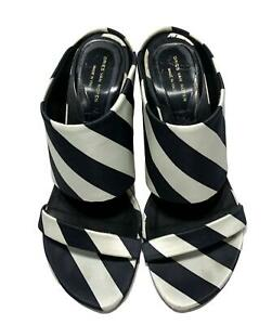 DRIES VAN NOTEN SATIN STRIPED HEELED SANDALS, 37, $895