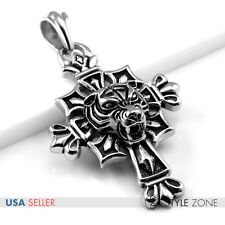 Head on Cross Pendant Cool Punk Q18 Men Stainless Steel Vintage Gothic 3D Tiger