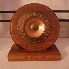 Vintage Desk Top Copper Thermometer Hot Springs Ark. J.B. Deere Cedarcraft