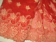 """2 yards in 12"""" width orange and red color poly cotton &tulle trim w floral decor"""