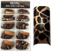 100 Faux ongles tips capsules doré & noir animal de Royal - false nails