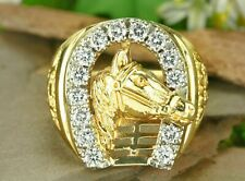 1.50 Ct Sim Diamond Men's Silver Horse Shoe Pinky Ring 14K Yellow Gold Plated