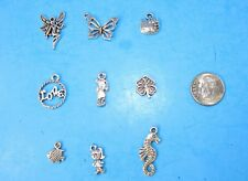 9pcs Tibet Silver Pendants LOT #2 Mixed Crafts Jewelry Making Charms