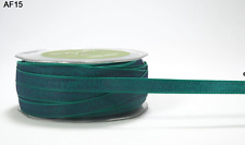 3/8 Inch Solid Two Tone Ribbon - May Arts AF15 - Dk Blue/Br. Green - 5 yards