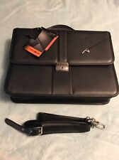 Samsonite Leather Flapover Briefcase Black Laptop Bag Business Messenger NEW