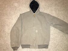Carhart Gray Hooded Quilt Lined Active Jac Cotton Duck Jacket Boys XL