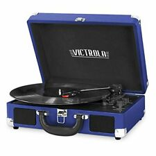 New listing Victrola Vintage 3-Speed Bluetooth Portable Suitcase Record Player with Built.