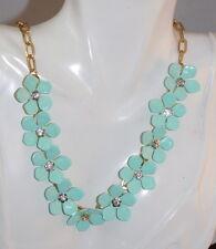 Beautiful Aqua Blue Enamel Flower Rhinestone Gold Chain Necklace 4h 61