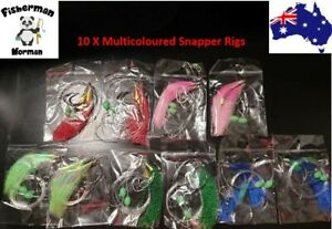 10 X 6/0 Multicoloured Snapper Snatcher Rigs Flasher Rig Snapper Rig Paternoster