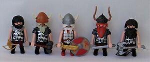 Playmobil Knights   5 x Assorted Dwarf Viking Warriors    Good Condition