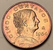 1964  MEXICO 5 CENTS BU UNC COLOR TONE DETAIL A+++
