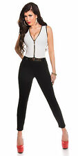SeXy Miss Damen Clubbing Overall Einteiler Anzug S 34 M 36 L 38 weiß schwarz Neu