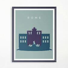 Rome Trevi Fountain Travel Poster Minimalistic Advertising