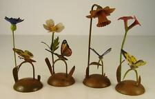 4 Antike Wendt & Kühn Kartenhalter Blumen Schmetterling um 1920