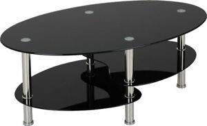Cara Coffee Table 2 Shelves Black Glass and Silver Chrome Legs