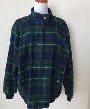 Pendleton L Wool Bomber Jacket Tartan Plaid Green Navy Classic Women's Full Zip
