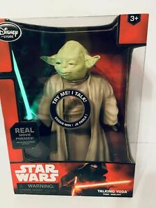 "10"" TALKING YODA Doll w/ Lightup Lightsaber Star Wars Force Awakens Disney Store"