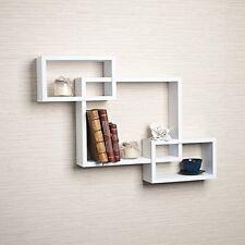 Danya B. Intersecting White Laminate Wall Shelf