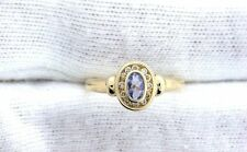14Kt REAL Yellow Gold Oval Blue Tanzanite Diamond Channel Set Gemstone Ring