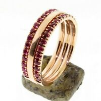 Half Eternity Ruby 1.60 mm Gold Ring Set Wedding band or Stacking ring, 14K Gold
