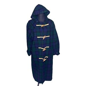 Ralph Lauren Plaid Duffle Coat With Toggle Closure Buttons And Hood Size Small