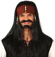PERRUQUE Noire PIRATE des CARAIBES Accessoire déguisement homme corsaire NEUF