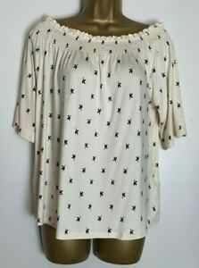 M&S Ivory Stretch Jersey Off/On Shoulder Top Size 16 New  (hs-18h)