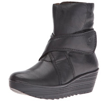 Fly London Rada 654 Fly Mousse Wedge BLACK leather Womens Boots EU 39 US 8