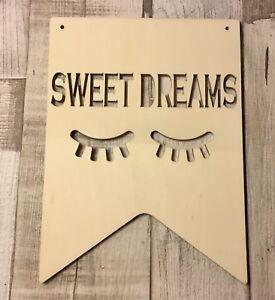 Large SWEET DREAMS Sleepy eyelashes - unpainted laser cut quality wood plaque