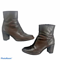 "Clarks Indigo Ankle Boots 6.5 M Brown Leather Side Zip 3"" Heel 8"" Tall Classic"