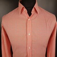 HUGO BOSS Mens Casual Shirt SMALL Long Sleeve Red Slim Fit Check Cotton