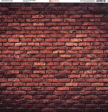 """Deep Red Brick Wall"" 12x12 Single-Sided Paper - Ella & Viv by Reminisce"