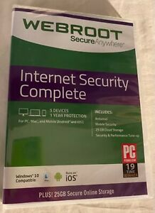 🔥🔥 Webroot Internet Security Complete 5 Devices - 1 Year SEALED, SHIPS FREE
