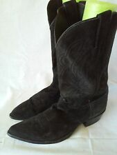 Justin Mens Black Pull On Cowboy Western Boots Size 11 D