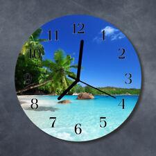 Glass Wall Clock Kitchen Clocks 30 cm round silent Island Palm Trees Blue
