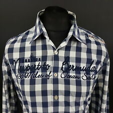 Gaastra Mens Nautical Shirt LARGE Long Sleeve Blue Regular Fit Check Cotton