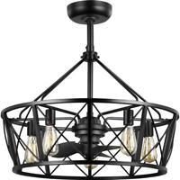 Progress Lighting Pinehill 28 in. Indoor/Outdoor Black Dual Mount Ceiling Fan