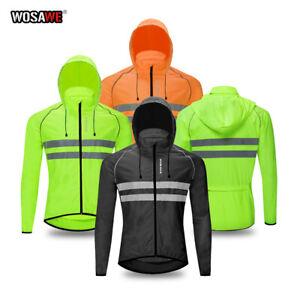 Mens Hooded Waterproof Cycling Rain Jackets Overcoat Reflective Bike Jersey Tops