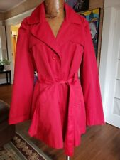 Red trench coat size L Worthington belted pop of color lined fall winter